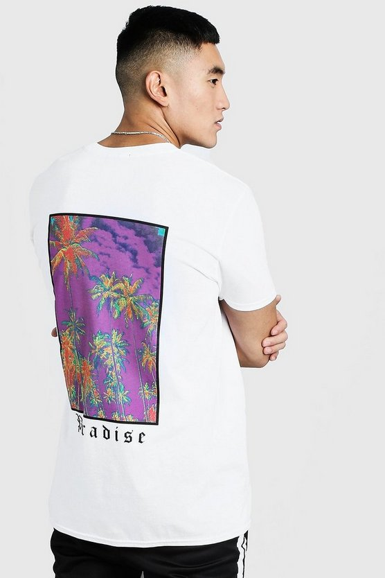 Mens White MAN Loose Fit Paradise Back Print T-Shirt