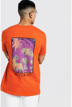 Mens Orange MAN Loose Fit Paradise Back Print T-Shirt