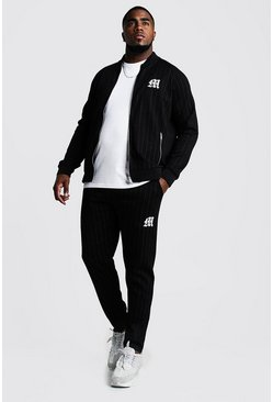 Herr Black Big & Tall MAN Embroidered Pinstripe Tracksuit