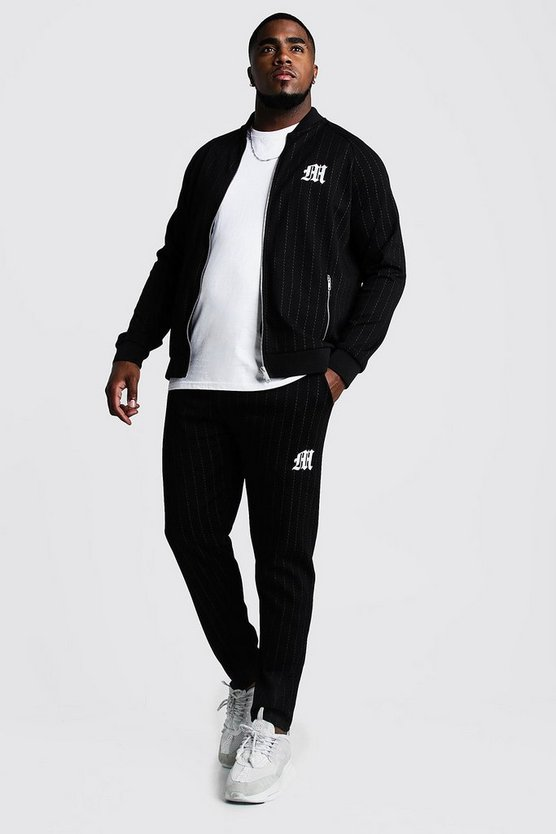 Mens Black Big & Tall MAN Embroidered Pinstripe Tracksuit