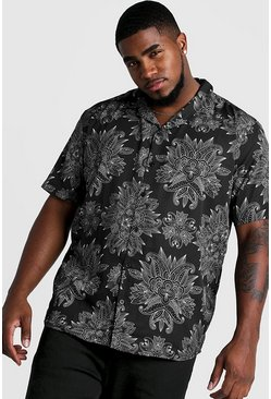 Mens Black Big & Tall Paisley Print Revere Collar Shirt