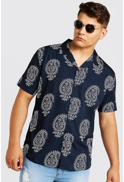 Mens Black Big & Tall Paisley Revere Collar Shirt