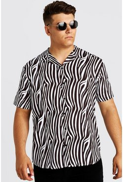 Mens White Big & Tall Zebra Print Revere Collar Shirt