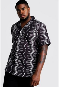 Mens Black Big & Tall Vertical Aztec Revere Collar Shirt