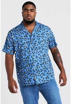Mens Purple Big & Tall Leopard Revere Collar Shirt