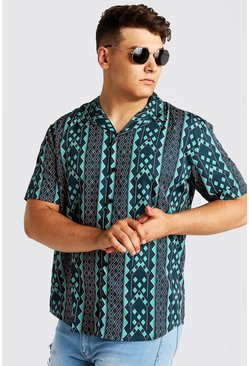 Mens Green Big & Tall Aztec Revere Collar Shirt