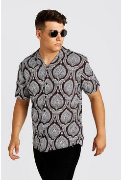 Mens Grey Big & Tall Paisley Revere Collar Shirt