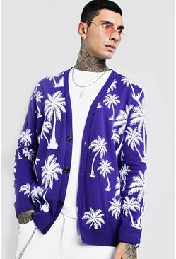 Cardigan lavorato all'uncinetto con stampa di palme all-over, Viola, Maschio