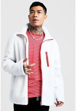 Mens White Borg Jacket With Contrast Details