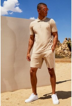 Herr Taupe His Pique Zip Polo & Short Set