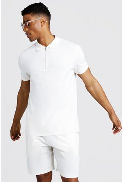 Herr White His Pique Zip Polo & Short Set