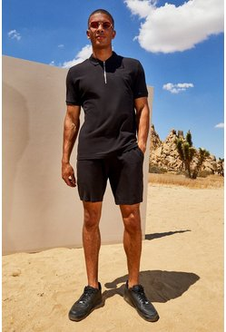 Herr Black His Pique Zip Polo & Short Set