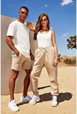 Mens Taupe His Loose Fit Embroidered T-Shirt & Short Set