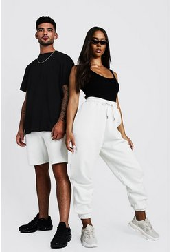 Herr White His Loose Fit Embroidered T-Shirt & Short Set