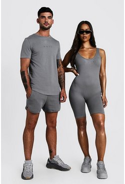 Herr Charcoal His Muscle Fit T-Shirt & Runner Short Set