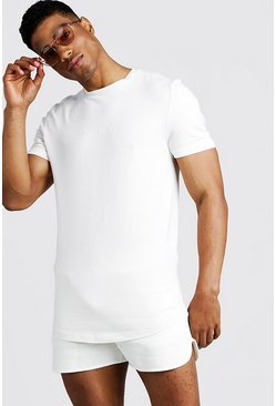 Mens White His Muscle Fit T-Shirt & Runner Short Set