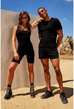 Herr Black His Muscle Fit T-Shirt & Runner Short Set