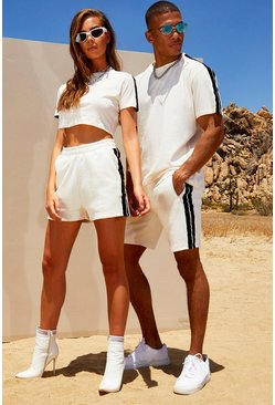 Herr White His Loose Fit Side Tape T-Shirt & Short Set