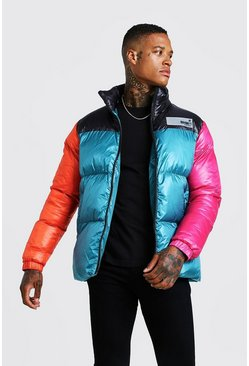 Mens Teal Colour Block Hand Filled Puffer