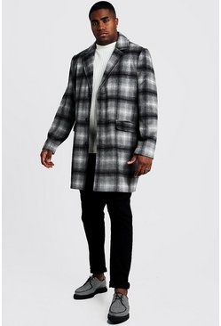 Herr Grey Big & Tall Wool Look Overcoat In Brushed Check