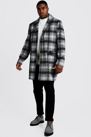 Mens Grey Big & Tall Wool Look Overcoat In Brushed Check