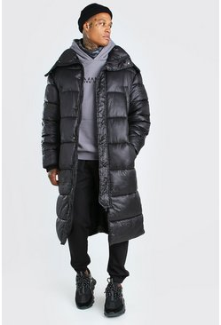 Mens Black Longline Hand Filled Puffer In Matte Look