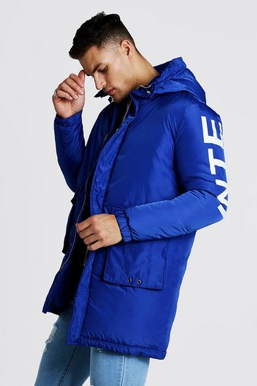 Mens Cobalt Parka With Back Print