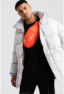Light grey Drop Shoulder Puffer Coat With Neon Details