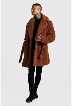 Mens Brown Faux Fur Double Breasted Trench Coat
