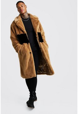 Camel Luxe Faux Fur Overcoat With Stripe