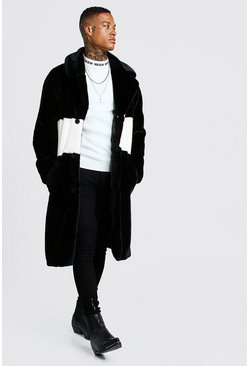 Black Luxe Faux Fur Overcoat With Stripe