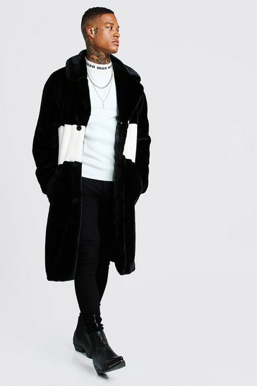 Mens Black Luxe Faux Fur Overcoat With Stripe