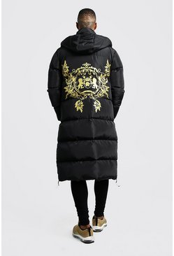 Mens Black MAN Baroque Back Print Longline Puffer