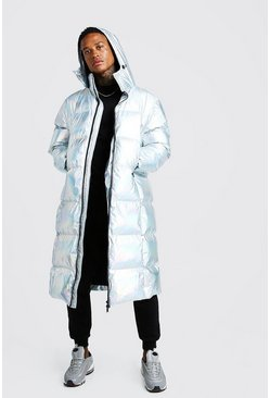 Mens Silver Holographic Longline Puffer Coat
