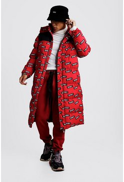 Mens Red BHM/1 Printed Longline Puffer Coat