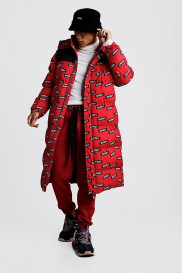 Mens Red MAN Printed Longline Puffer Coat