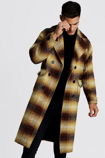 Mens Brown Longline Check Double Breasted Overcoat