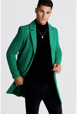 Mens Green Single breasted Wool Look Overcoat