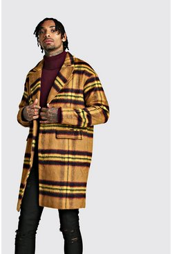 Tan Wool Look Overcoat In Large Check