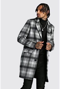 Mens Grey Wool Look Overcoat In Brushed Check