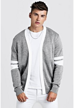 Mens Light grey Varsity Edge To Edge Cardigan