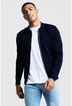 Mens Navy Zip Through Collared Cardigan