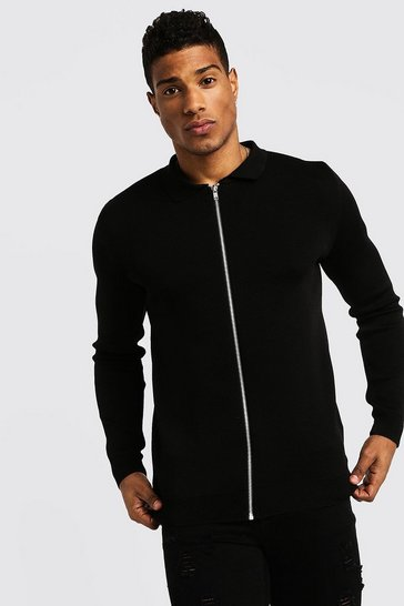 Mens Black Zip Through Collared Cardigan
