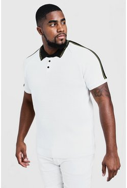 Big & Tall Polo de punto largo con cuello MAN, Blanco, Hombre