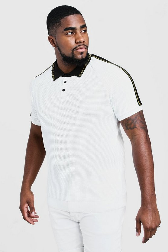 Mens White Big & Tall Knitted Polo With Man Collar