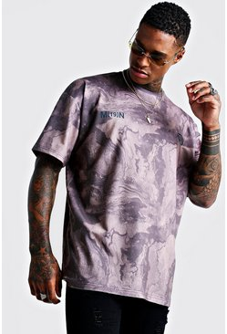 Mens Grey Overdye Washed Marble Oversized Boxy T-Shirt