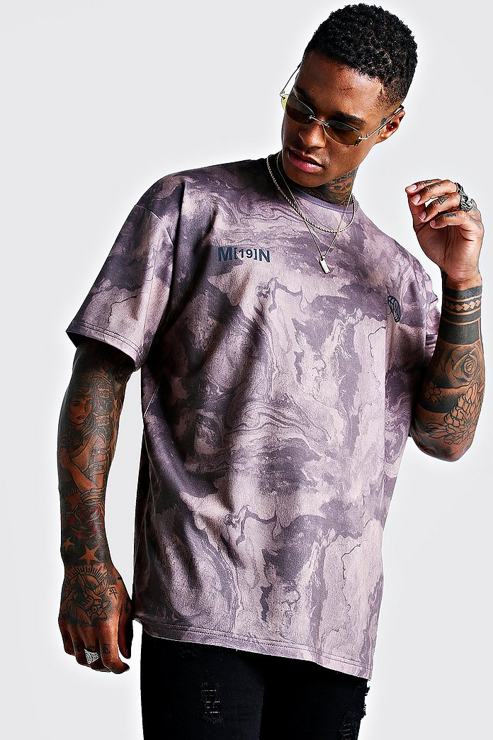 boohoo MAN OVERDYE WASHED TIE-DYE OVERSIZED BOXY - T-shirts print - grey