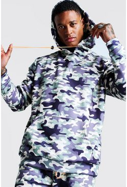 Sweat à capuche oversize imprimé camouflage international, Homme
