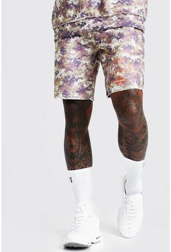 Mens Washed Camo Print Mid Length Short