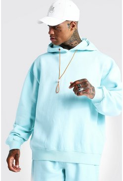Mens Blue International Oversized Print Washed Hoodie